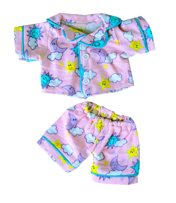 Pink Flannel Moon and Stars PJs - 8""